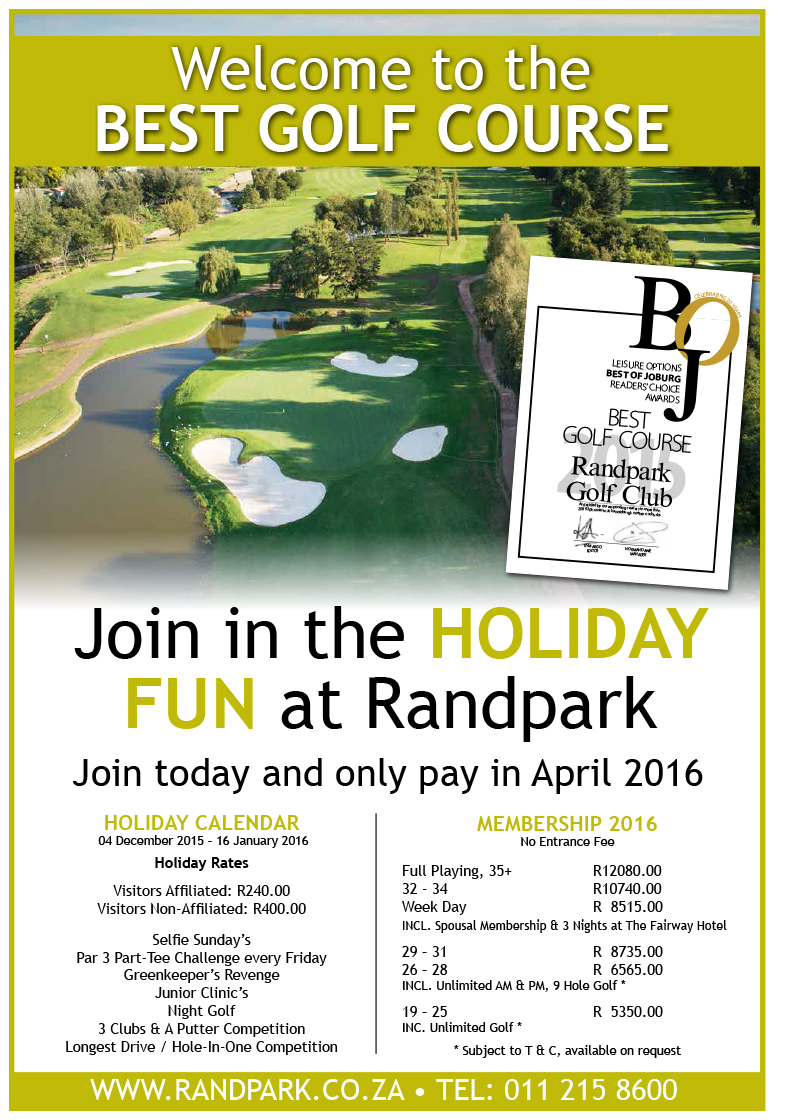 2016 Membership at Randpark Golf Club